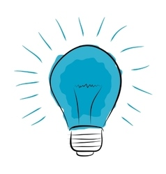 Blue light bulb hand drawn vector