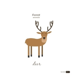Deer in cartoon style on white background vector