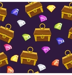 Seamless pattern gemstones and treasure chest vector