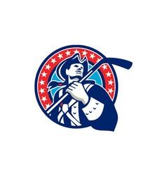 American Patriot Ice Hockey Stick Circle Retro vector image vector image