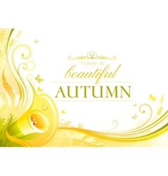 Autumn background with calla flower falling vector