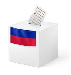 Ballot box with voting paper haiti vector