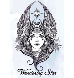 Beatuful woman as a star diety or tarot card vector