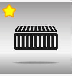 black cargo container icon button logo symbol vector image