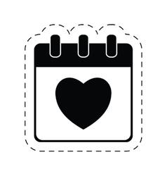 Calendar love heart date cut line vector