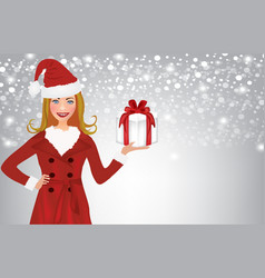christmas woman holding present vector image vector image