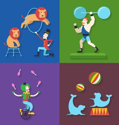 Circus performance with animals clown actor athlet vector