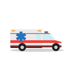 colored emergency ambulance with siren flat design vector image