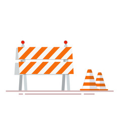 Construction fencing and cones for indicating vector