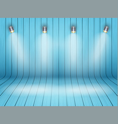 Curved wooden background with spotlights vector