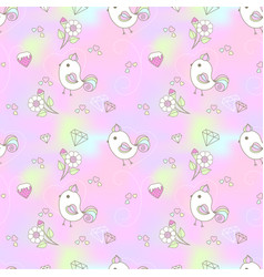 cute bird seamless pattern in rainbow background vector image