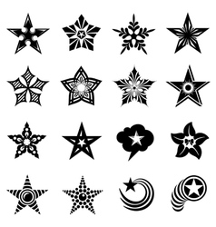 Decorative stars icons set simple style vector