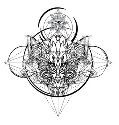 Dragon head hand drawn sketch vector