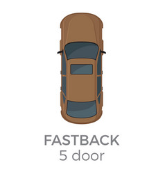 five doors fastback top view flat icon vector image vector image