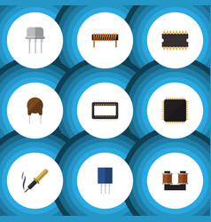 Flat icon appliance set of microprocessor resist vector