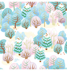 Forest in winter with snow vector