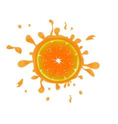 Fresh orange background with splashes vector