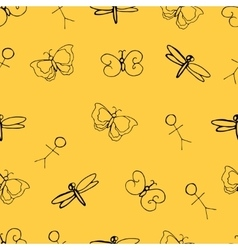 Funny seamless pattern with doodle vector image