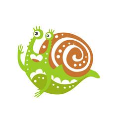 funny snail character raising hand cute green vector image