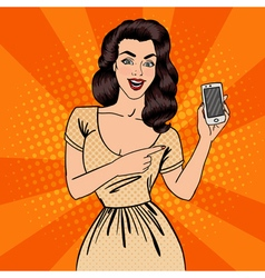 Girl with Smartphone Beautiful Woman Pop Art vector image vector image