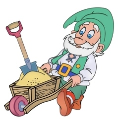 Gnome with a trolley vector