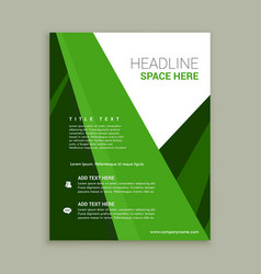 Green color brochure flyer template vector