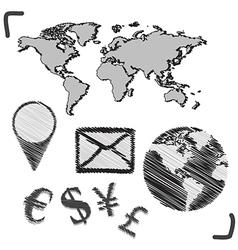 hand drawn globe doodles vector image vector image