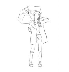Hand drawn young women with umbrella vector image
