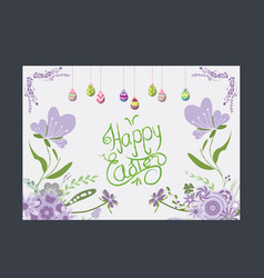 happy easter eggs greeting card flower purple vector image