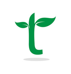 herbal symbol for letter t vector image