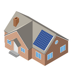 House with solar panel on roof vector