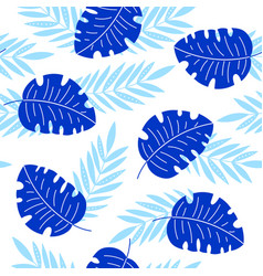Indigo tropical leaves seamless pattern vector