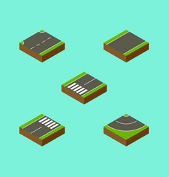 Isometric road set of footpassenger road footer vector