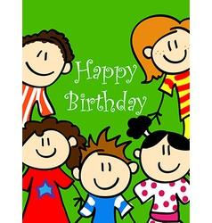 Kids birthday card 2 vector image vector image