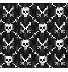 Knitted background with skulls vector image vector image