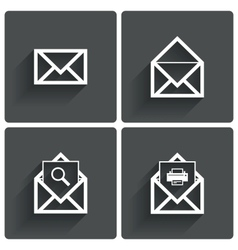 Mail icons Mail search symbol Print Letters vector image vector image