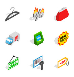 Market icons isometric 3d style vector