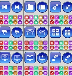 Media skip Folder Gear Flag Retro phone Calculator vector image vector image
