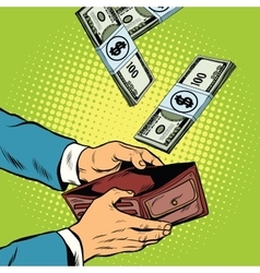 Money falling into wallet financial profits and vector