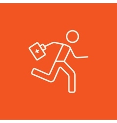 Paramedic running with first aid kit line icon vector image