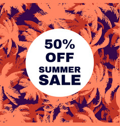 sale banner poster with palm leaves vector image