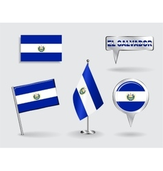 Set of El Salvador pin icon and map pointer flags vector image