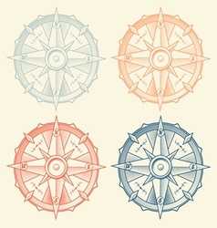 Set of vintage graphic compasses vector image vector image