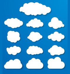 set of white clouds on a blue background vector image vector image