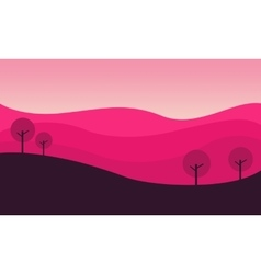 Silhouette of hill with pink backgrounds vector image