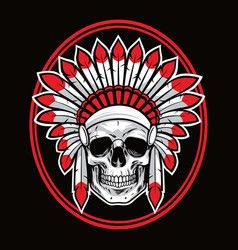 skull of indian native american warrior red vector image vector image