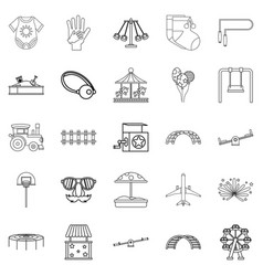Small child icons set outline style vector