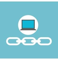 social media laptop link web vector image vector image