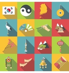 South korea travel icons set flat style vector