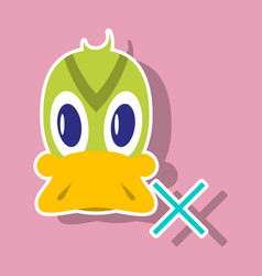 sticker icon in flat style duck vector image vector image